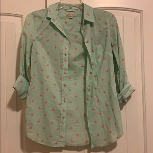 Turquoise and pink button up